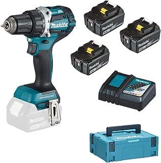 Makita DDF484JX1 borrskruvmejsel 18 V/2 batterier 5,0, 1 batteri 3,0 Ah laddare i MAKPAC