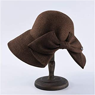 SHENTIANWEI Sun hat Female Big Bow Bow hat Collapsible Sun hat Solid Color Wild Travel Beach hat (Color : Brown)