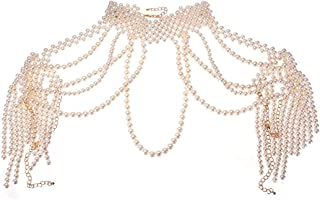 Jerollin Simulated Pearl Body Statement Necklace for Women, Fashion Collar Bib Necklaces Fashion Costume Jewelry Necklace