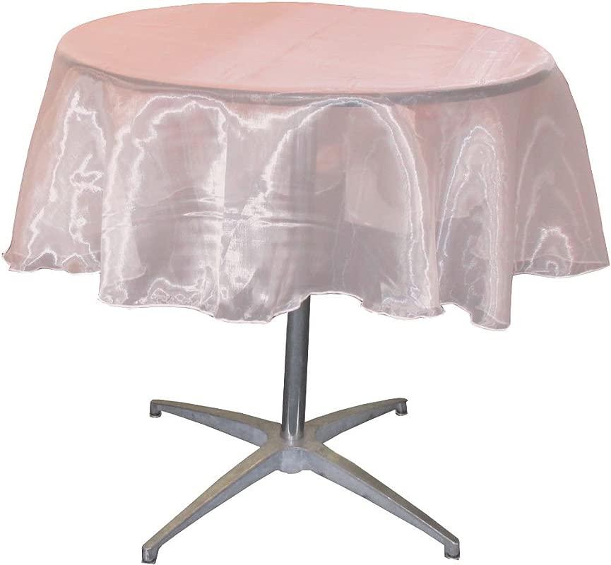 LA Linen Sheer Mirror Organza Round Tablecloth 51 Inch Light Pink