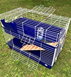 Large Double Indoor Rabbit Bunny Guinea Pig Cage 100 x 52 x 74 - Blue or Green