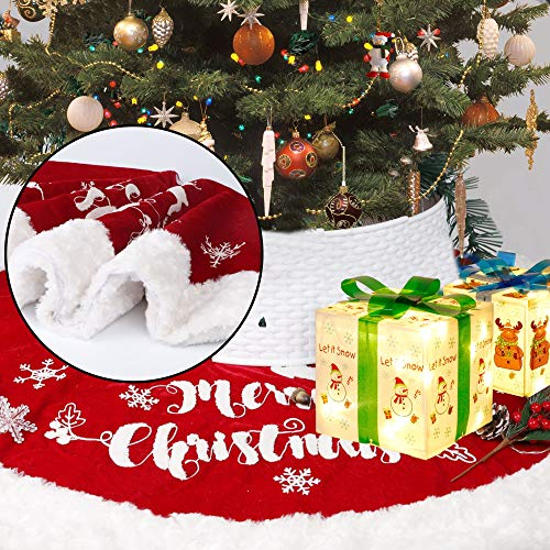 DR.DUDU 48 Inch Christmas Tree Plush Skirt Decoration for Merry Christmas Party Faux Fur Christmas Tree Skirt Decorations