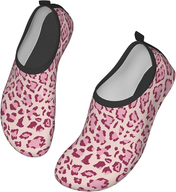 Pink Animal Leopard Mens Womens Quick Dry Barefoot Beach Pool Swim Diving Surf Aqua Sports Walking Yoga Water Shoes