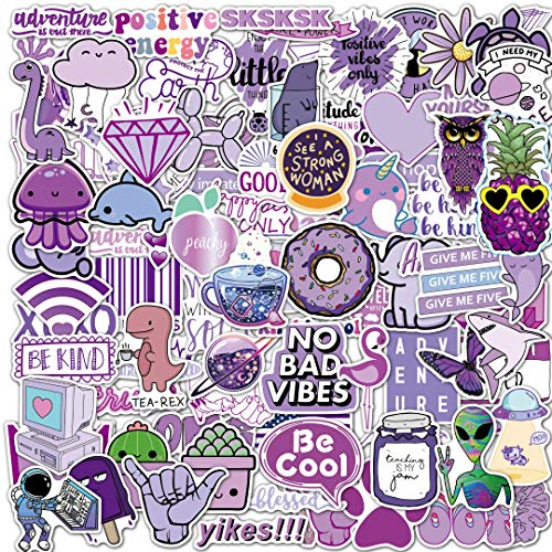 EL Nido 100 Purple Stickers, Aesthetic Stickers, Cute Stickers, Laptop Stickers, Vinyl Stickers, Sticker for Water Bottles, Computer Waterproof Stickers for Teens, Teen Girl Gifts Sticker Packs