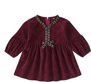 Xifamniy Infant Girls Long Sleeve Dresses Round Neck Embroidery Bow Tutu Dress