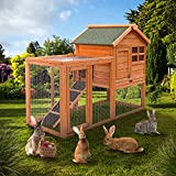 Rabbit Hutch, 2 Layer Wooden Rabbit Cage Hutch Backyard Bunny Cage Small Animal House with Ramp and Outdoor Run for Small Animal Houses & Habitats (Large)
