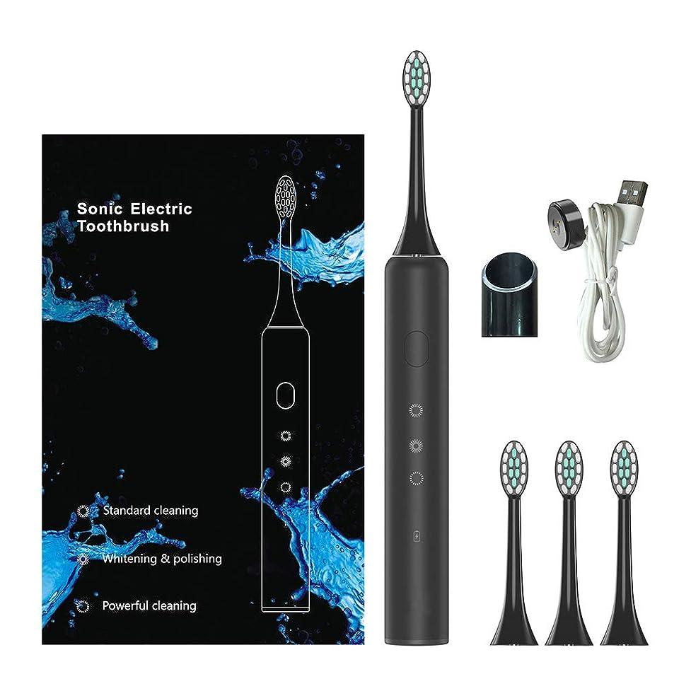 寛解小説家ブランクソニック電動歯ブラシ、電動歯ブラシ、充電式歯ブラシ磁気誘導充電防水3つのブラッシングモード