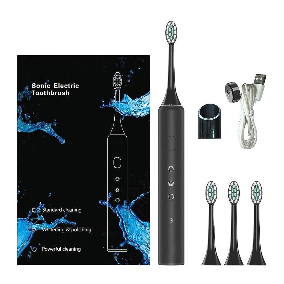 先例乗算トライアスリートソニック電動歯ブラシ、電動歯ブラシ、充電式歯ブラシ磁気誘導充電防水3つのブラッシングモード