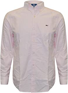 Mens Long Sleeve Button Down Whale Shirt Oxford (Flamingo Stripe, Large)