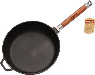 Biol Sartén de hierro fundido con mango desmontable de madera extraíble 24 cm Negro