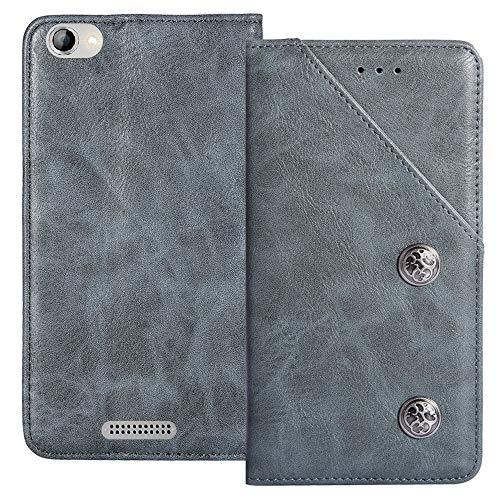YLYT Flip Blue Schutz Hülle Hülle Für Alcatel OneTouch Pop 4 (6) 7070X Etui Leder Tasche Handyhülle Hochwertiges Stoßfeste Kartenfach Cover