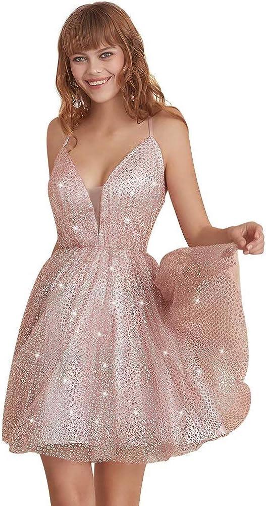 Leeskoot Sparkly Juniors Homecoming Dresses Short Glitter Formal Prom Ball Gown for Women