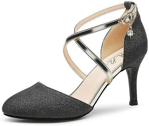 LTN Ltd - sandals Sandales Talons Aiguilles Sexy Talons Hauts de la Mode Estivale Chaussures Populaires Chaussures D'été, Noir, 37