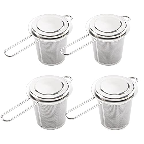 Tea Infuser, EZOWare Set of 4 Premium Stainless Steel Mesh Tea Filter with Lid and Handle, Perfect Reusable Mesh Strainer for Steeping Loose Leaf Tea