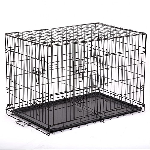 """Price comparison product image 48"""" / 42"""" / 36"""" / 30"""" / 24"""" Pet Kennel Cat Dog Folding Crate Wire Metal Cage W / Divider"""