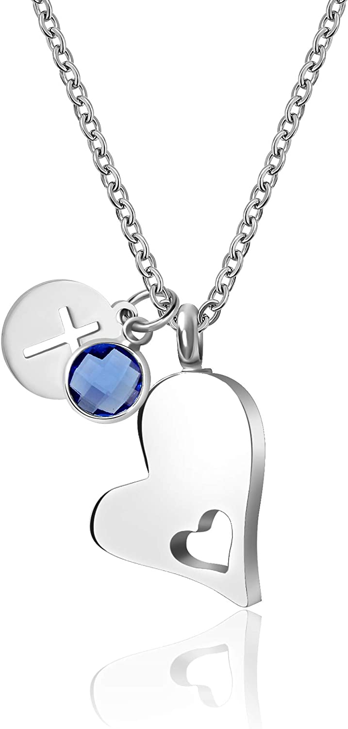 TCHYUN Heart Urn Necklace for Ashes Cross Angel Wing Charm Pendant 12 Birthstone Cremation Keepsake Jewelry