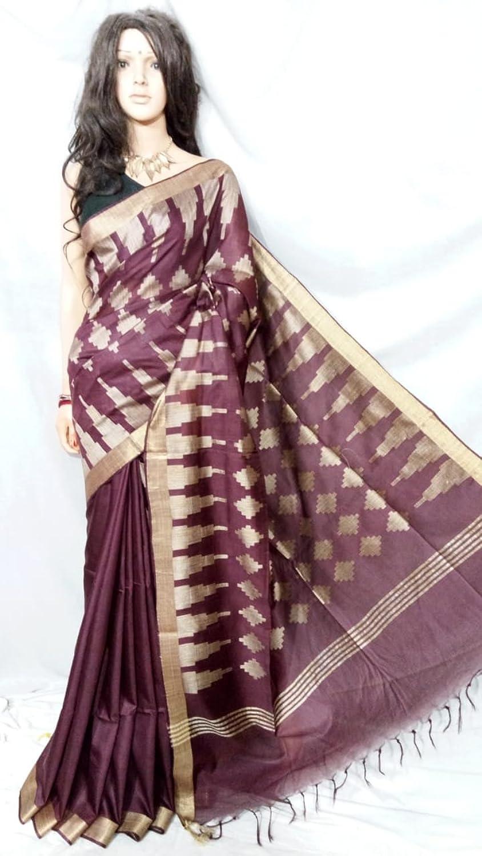 Bhagalpuri Silk handloom Handwork Saree Formal Wedding Indian Beautiful zari Border Traditional Sari with Blouse Piece Handmade Bengal Weavers 117