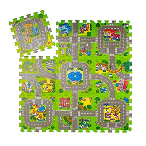 Relaxdays Puzzlematte Straße, 9-teilige Spielmatte für Kinder & Babys, schadstofffrei, Eva Schaumstoff, 90 x 90 cm, bunt