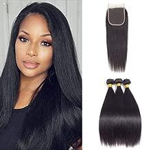 Fashion Vila Straight Hair 3 Bundles with Closure,(14 16 18+12