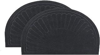 Half Round Door Mat Mud Dirt Trapper Shoe Scraper Mat Entry Mat Rugs for Front Door Low Profile Indoor Washable