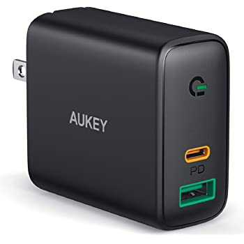 AUKEY Focus iPhone Fast Charger 30W 2-Port USB C Charger for iPhone 12/12 Mini/12 Pro Max, PD 3.0 Fast Charger, USB C Wall Charger for iPhone 11 Pro Max/8 Plus, Pixel 5, MacBook Air, iPad Pro, Switch