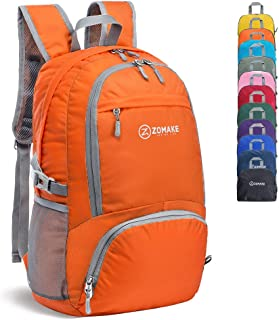 ZOMAKE 30L Lightweight Packable Backpack Water Resistant Hiking Daypack,Small Travel Backpack Foldable Camping Outdoor Bag Orange …