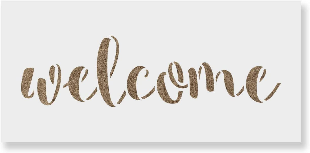 Welcome Sign Greeting Home Mylar Airbrush Painting Wall Art Crafts Stencil-XL