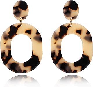 YAHPERN Acrylic Earrings for Women Girls Statement Geometric Earrings Resin Acetate Drop Dangle Earrings Mottled Hoop Earrings Fashion Jewelry