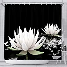 JAWO Lotus Spa Shower Curtain Set, Magic White Lotus Water Lily Flower on Black Background Polyester Fabric Waterproof Bathroom Bath Curtains, 12 Hooks Included 69x70inches