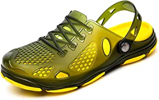 TONGDAUAE Summer Beach Crocs For Men Plastic Comfortable Breathable Sandals Anti-slip Flat Slippers Waterproof Quick-drying (Color : Green, Size : 41 EU)