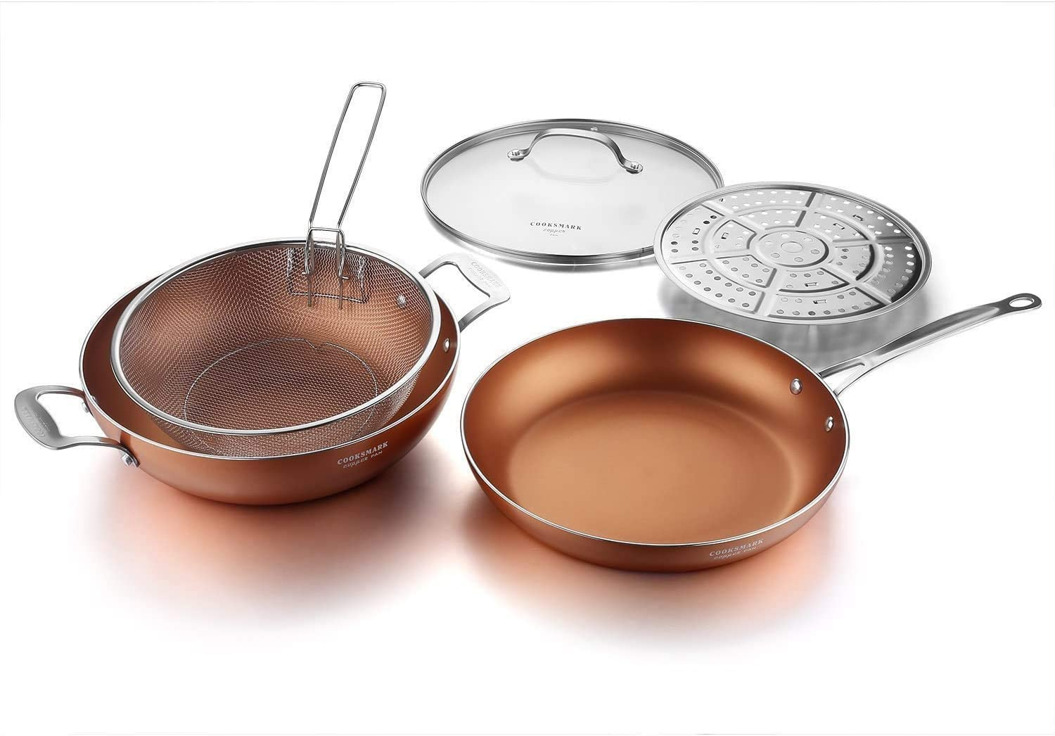12-Inch Nonstick Induction Copper Pan 定番から日本未入荷 別倉庫からの配送 with S Lid Fry and Basket