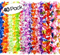 125x Luau Hawaiian Beach Pool Party Favour Rainbow Flower Neck Lei Leis New Year