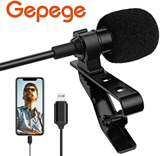Gepege Microphone Professional for iPhone Grade Lavalier Lapel Omnidirectional Phone Audio Video Recording Lavalier Condenser Microphone (6m)
