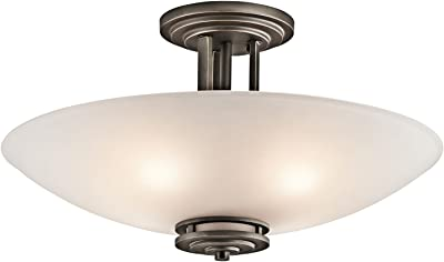 Kichler Lighting 3677OZ Hendrik - 4 Light Semi-Flush Mount - with Soft Contemporary Inspirations - 12.25 inches Tall by 24 inches Wide, Olde Bronze Finish with Umber Glass