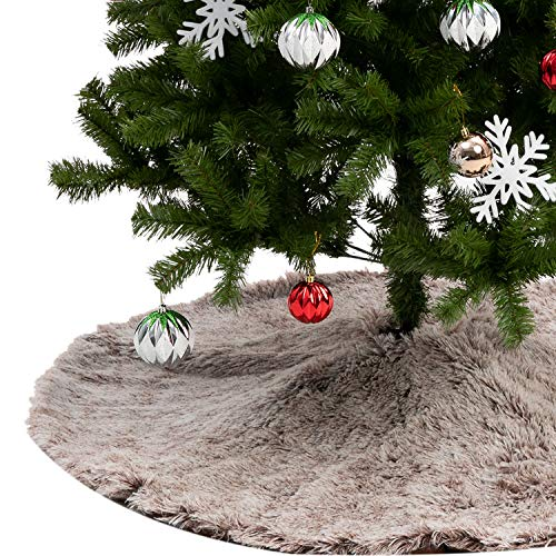 Joiedomi 48 Inch Faux Fur Tree Skirt Brown Christmas Tree Skirt, Soft Classic Fluffy Faux Fur Tree Skirt for Christmas Tree Decorations