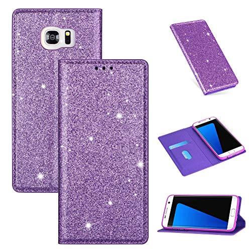 Nadoli Glitzer Wallet Hülle für Galaxy S7 Edge,Bling Schutzhülle Leder Flip Case Lederhülle mit Kartenfach Standfunktion Klappbar Magnetisch Etui für Samsung Galaxy S7 Edge