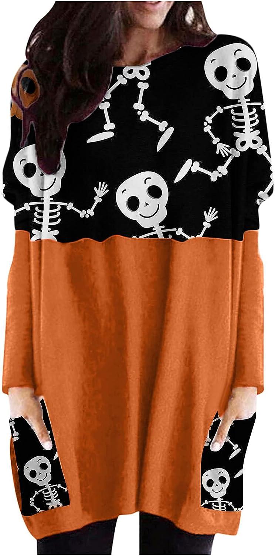 Women Halloween Long Sleeve Tops Crewneck Pumpkin Print Sweatshirts Loose Comfy Casual Pullover with Pocket