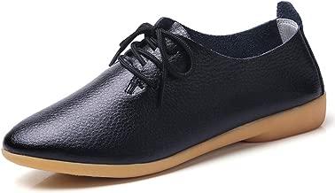 Decai Mocasines de Cuero Piel Mujer Oxford con Cordones Zapatos de Conducción Planos Clásica Punta Redonda Cuero Mocasines de Ballet Planos para Mujeres