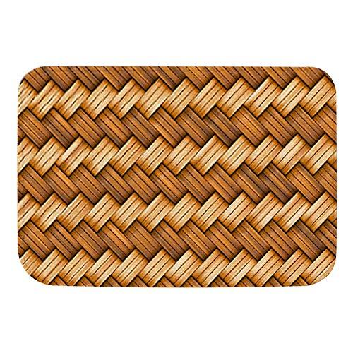 Ymiko Duurzame deurmat Antislip absorberende vloermat Bamboe-weefpatroon Eenvoudig te reinigen deurmat voor badkamer, keuken(Bruin-4)