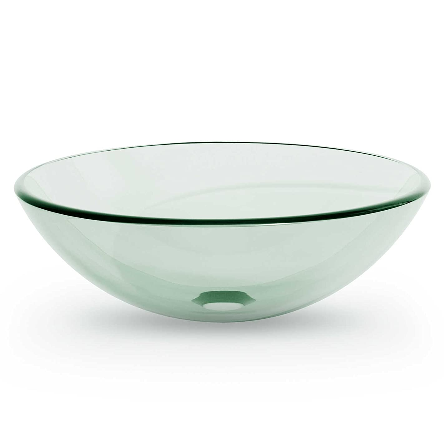 Miligore Modern Glass Vessel Sink - Above Counter Bathroom Vanity Basin Bowl - Round Clear