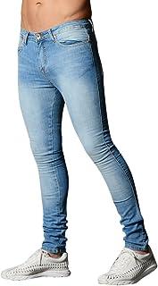 c64b93084488f Dihope Homme 1 Pièce Vintage Pantalon Serré Denim Trou Biker Jeans Skinny  Cargo Straight Slim pour