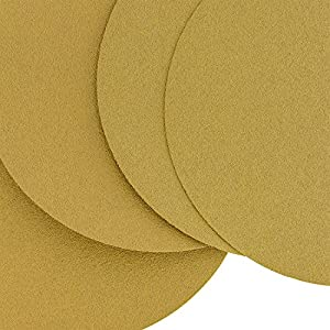 "Dura-Gold - Premium - 80 Grit 6"" Gold PSA Self Adhesive Stickyback Sanding Discs for DA Sanders - Box of 50 Sandpaper Finishing Discs for Automotive and Woodworking"