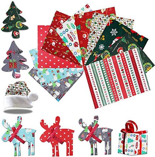 HIQE-FL 10 Stück Stoffpakete Weihnachten,Stoffpakete Patchwork Stoffe Baumwolle,Baumwollstoff Meterware(50X50cm)