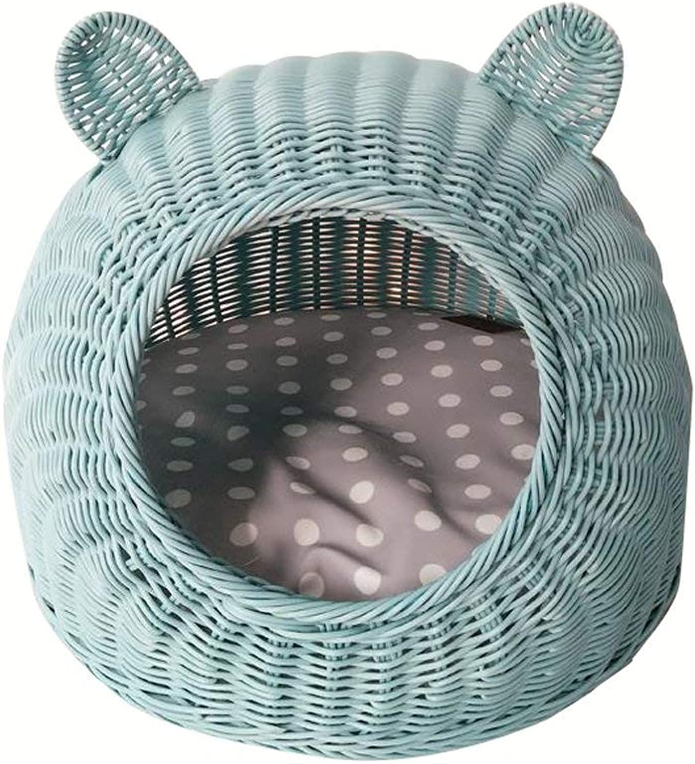 YQSMYSW Pet Bed Closed Rattan Cat House with Cushion Easy to Clean Young Dog Puppy Nest Hand Made Cat Nest Pet Supplies  &