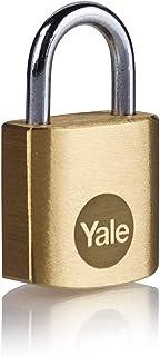 Yale Y110B/20/111/1 - 20mm Pirinç Asma Kilit - Standart Koruma - Çelik Halka - 3 Anahtar, Sarı