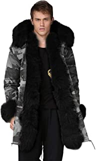 Aox Men's Casual Faux Fur Hood Thicken Winter Coat Lightweight Snow Jacket Parka
