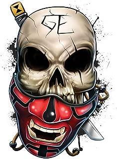 Irvint & Co Best Of Skulls Temporary Tattoo Ninja Skull in Mask With Kitana Style Fake Temporary Tattoos Stickers Made in USA