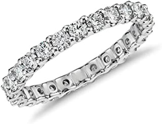 Next Level Jewelry Womens Sterling Silver .925 Crystal Clear Round Cubic Zirconia Eternity Band All-Around CZ Stones Ring, 2MM 3MM 4MM, Stackable, Wedding, Engagement, Anniversary, Sizes 5-9