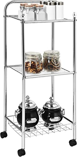 lowest Giantex sale popular Kitchen Island Cart, Rolling Service Cart, Metal Storage Shelving Organizer, 3-Tier Utility Cart for Kitchen, Bathroom, Pantry, Laundry, Wire Mesh Basket, Kitchen Trolley with Casters outlet sale