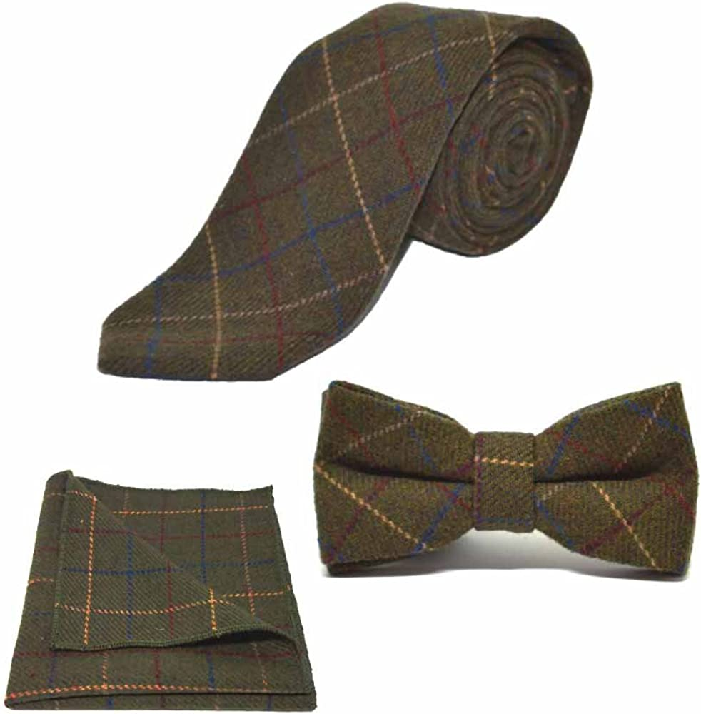 Heritage Check Regency Green Men's Bow Tie, Necktie & Pocket Square Set